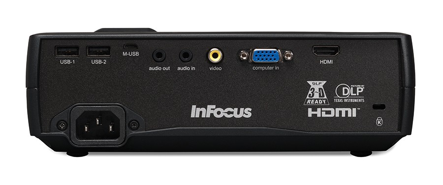 InFocus IN1116 back panel inputs